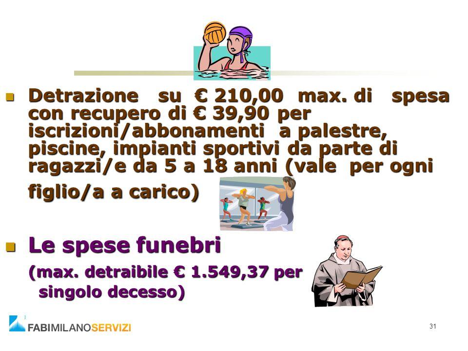 31 Detrazione su € 210,00 max. di spesa con recupero di € 39,90 per iscrizioni/abbonamenti a palestre, piscine, impianti sportivi da parte di ragazzi/
