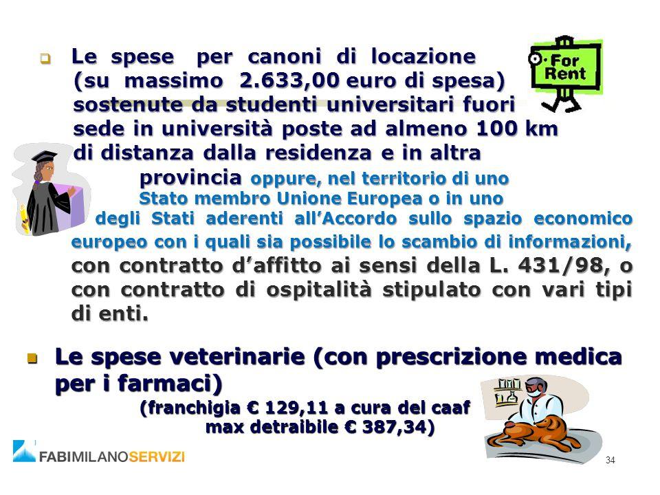 34  Le spese per canoni di locazione (su massimo 2.633,00 euro di spesa) sostenute da studenti universitari fuori sede in università poste ad almeno