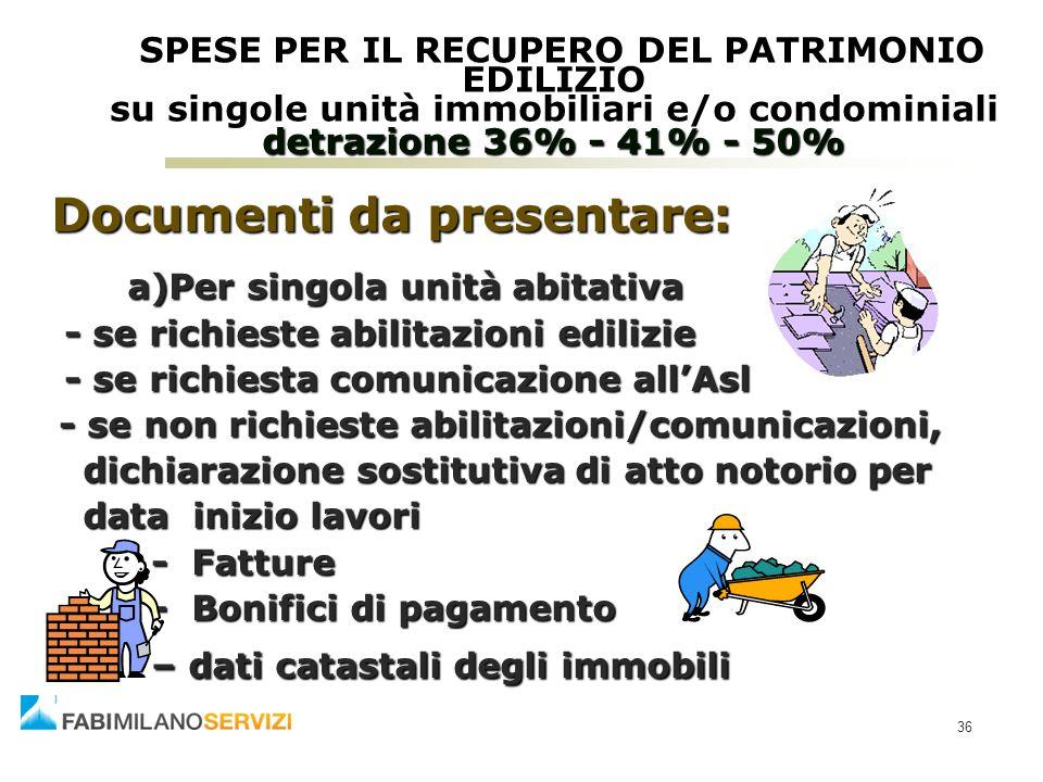 36 SPESE PER IL RECUPERO DEL PATRIMONIO EDILIZIO su singole unità immobiliari e/o condominiali detrazione 36% - 41% - 50% SPESE PER IL RECUPERO DEL PA