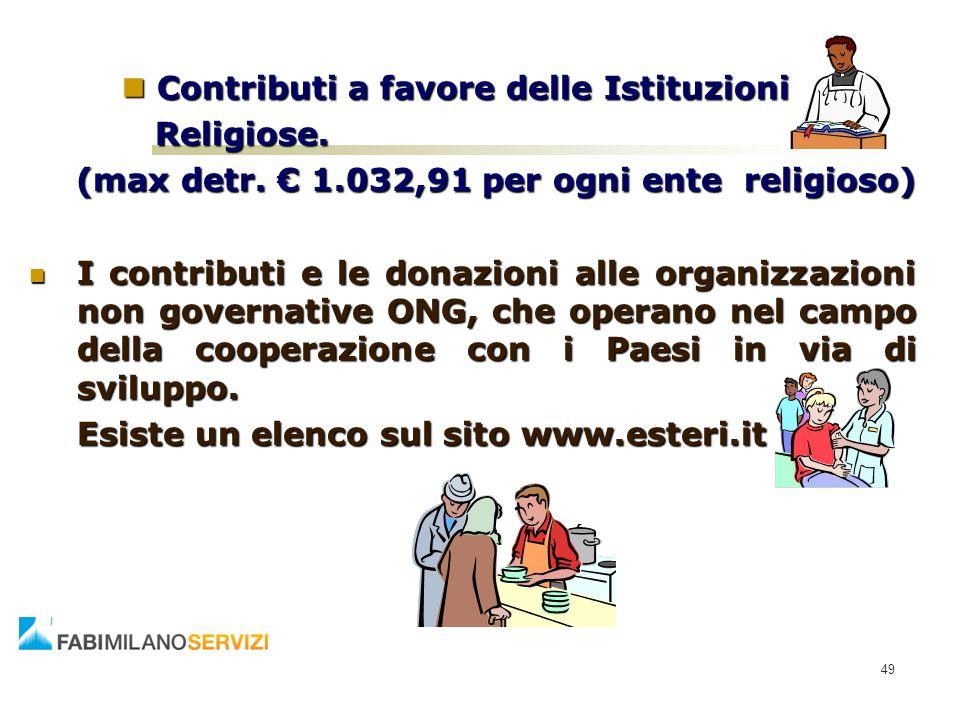 Contributi a favore delle Istituzioni Contributi a favore delle Istituzioni Religiose. Religiose. (max detr. € 1.032,91 per ogni ente religioso) I con
