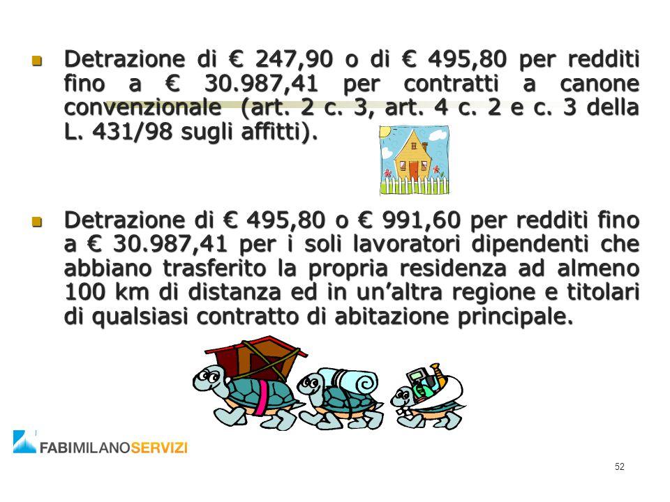 Detrazione di € 247,90 o di € 495,80 per redditi fino a € 30.987,41 per contratti a canone convenzionale (art. 2 c. 3, art. 4 c. 2 e c. 3 della L. 431