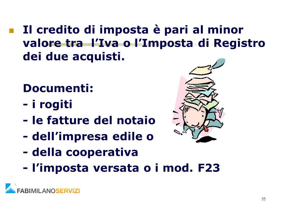 Il credito di imposta è pari al minor valore tra l'Iva o l'Imposta di Registro dei due acquisti. Documenti: - i rogiti - le fatture del notaio - dell'