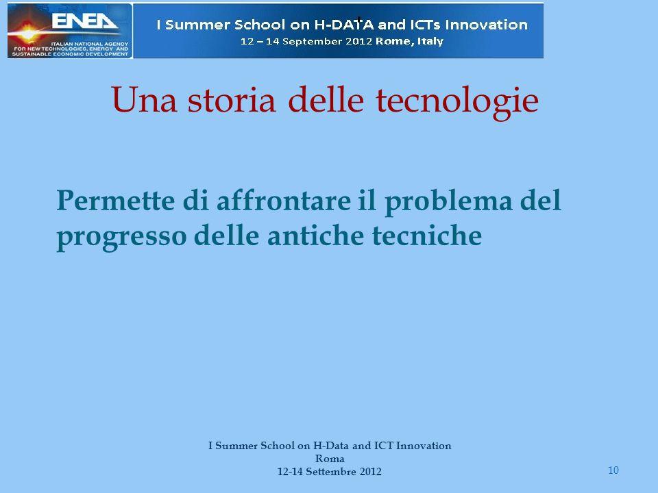 Una storia delle tecnologie Permette di affrontare il problema del progresso delle antiche tecniche 10 I Summer School on H-Data and ICT Innovation Ro