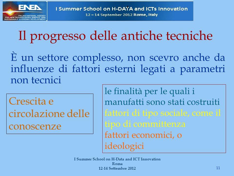 Il progresso delle antiche tecniche È un settore complesso, non scevro anche da influenze di fattori esterni legati a parametri non tecnici 11 I Summe