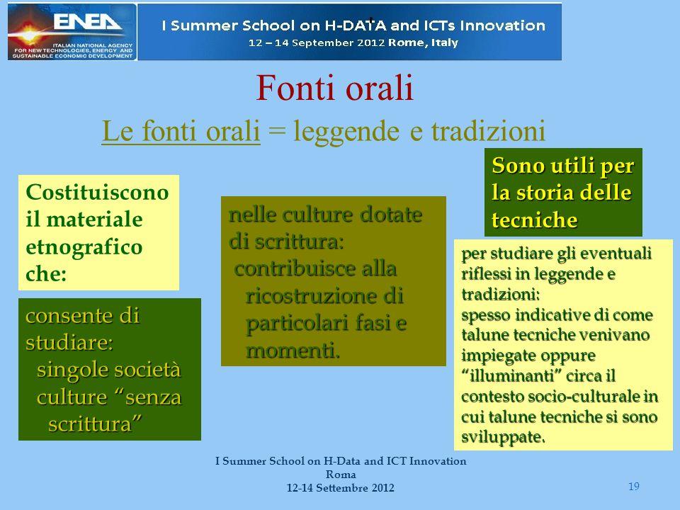 Fonti orali Le fonti orali = leggende e tradizioni 19 I Summer School on H-Data and ICT Innovation Roma 12-14 Settembre 2012 Sono utili per la storia
