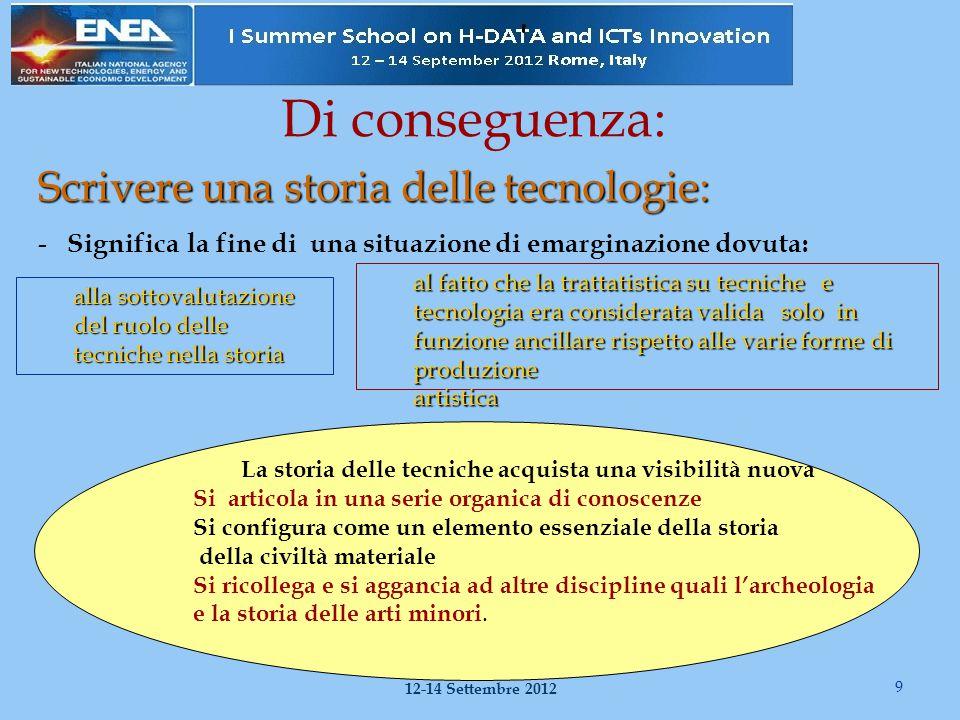 Una storia delle tecnologie Permette di affrontare il problema del progresso delle antiche tecniche 10 I Summer School on H-Data and ICT Innovation Roma 12-14 Settembre 2012