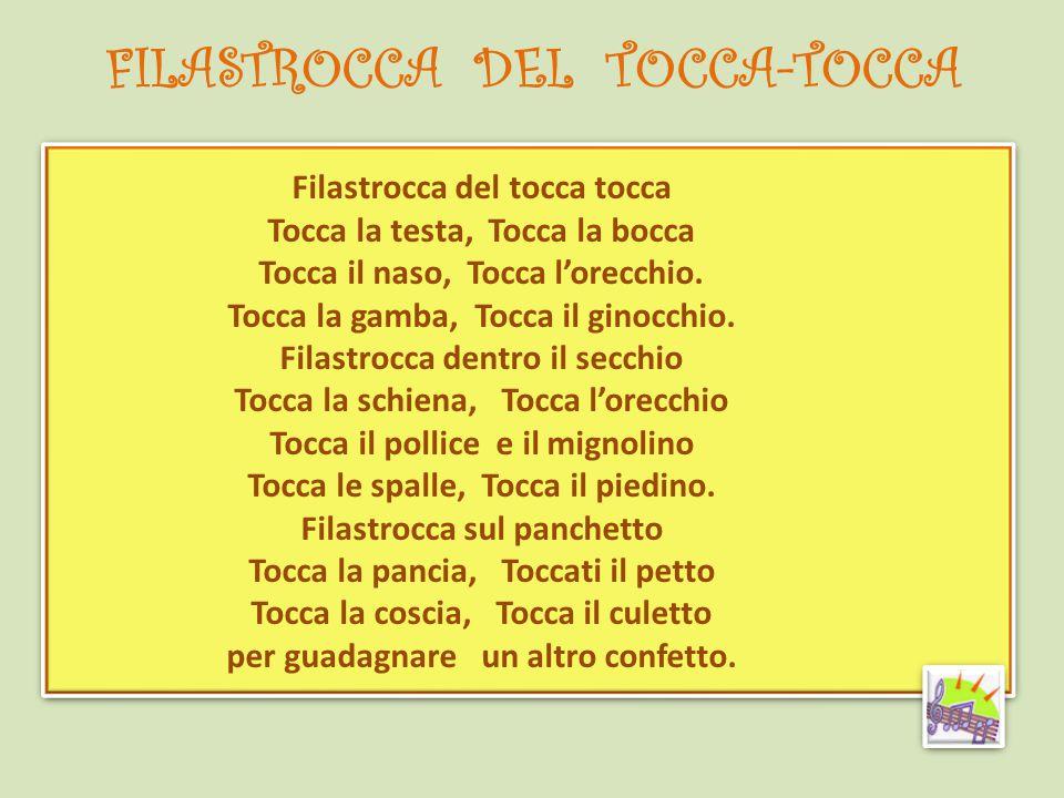 FILASTROCCA DEL TOCCA-TOCCA Filastrocca del tocca tocca Tocca la testa, Tocca la bocca Tocca il naso, Tocca l'orecchio. Tocca la gamba, Tocca il ginoc