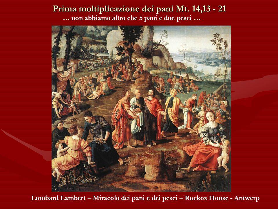 Prima moltiplicazione dei pani Mt. 14,13 - 21 … sceso dalla barca vide una gran folla ….. G. Lanfranchi - Moltiplicazione dei pani e dei pesci - Natio