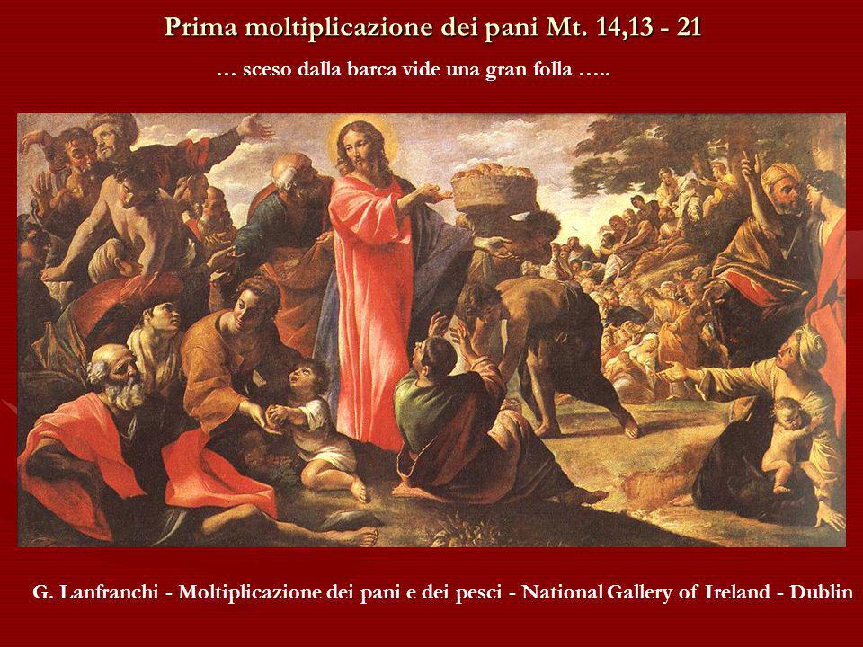 Prima moltiplicazione dei pani Mt.14,13 - 21 … sceso dalla barca vide una gran folla …..
