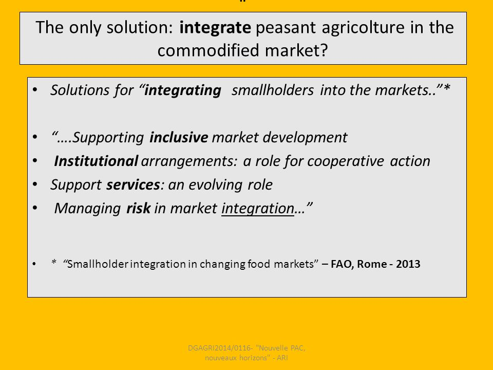 The only solution: integrate peasant agricolture in the commodified market.