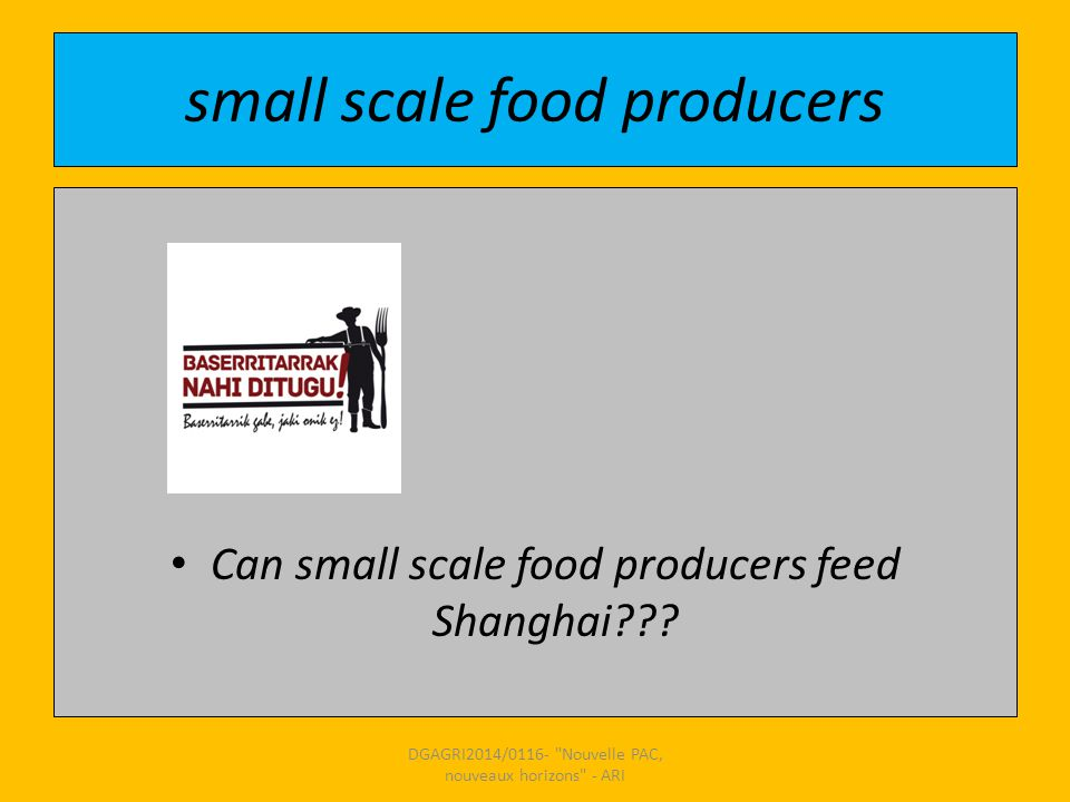 small scale food producers Can small scale food producers feed Shanghai??.