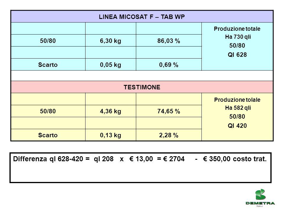 LINEA MICOSAT F – TAB WP Produzione totale Ha 730 qli 50/80 Ql 628 50/806,30 kg86,03 % Scarto0,05 kg0,69 % TESTIMONE Produzione tolale Ha 582 qli 50/8