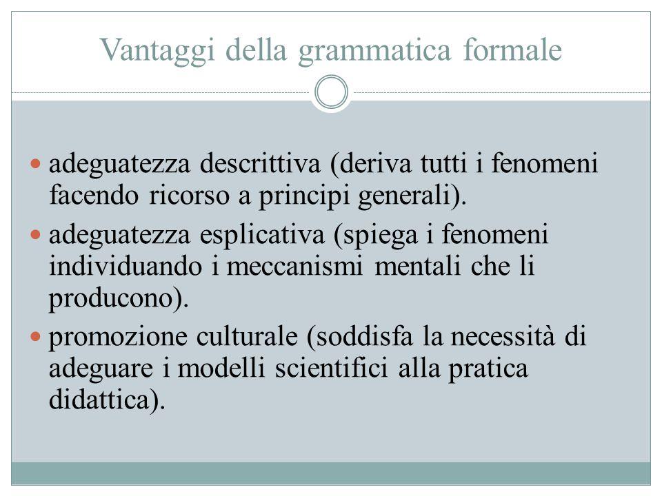 Vantaggi della grammatica formale adeguatezza descrittiva (deriva tutti i fenomeni facendo ricorso a principi generali). adeguatezza esplicativa (spie