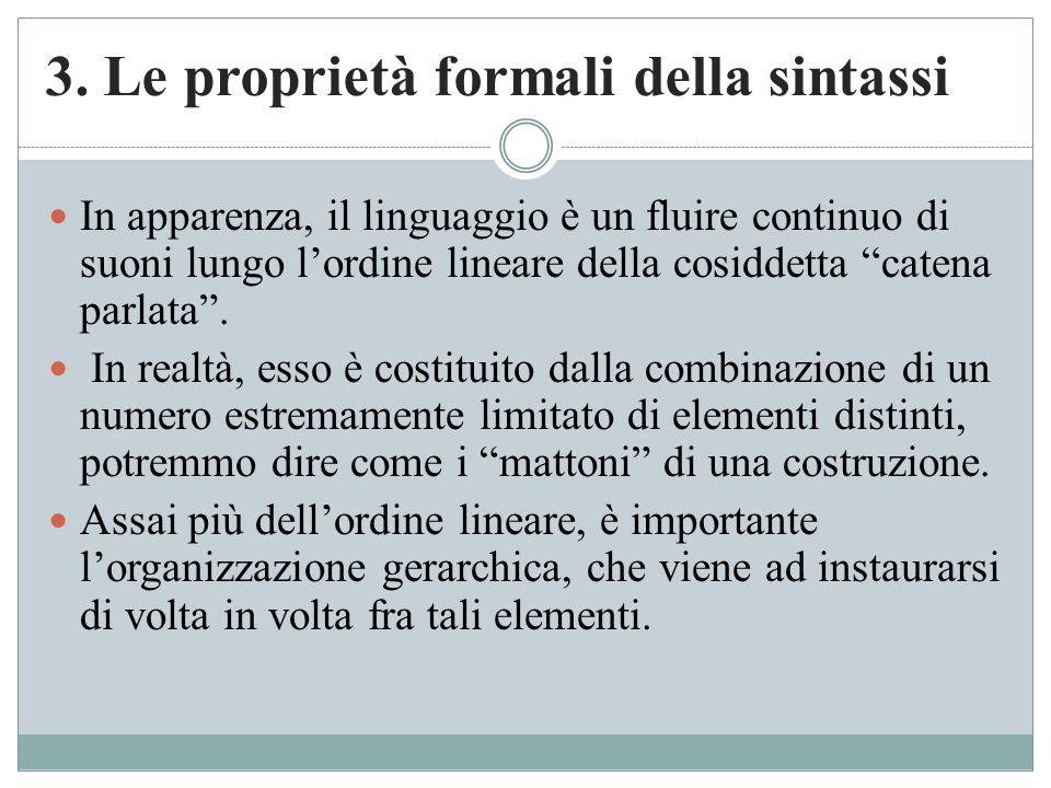 """3. Le proprietà formali della sintassi In apparenza, il linguaggio è un fluire continuo di suoni lungo l'ordine lineare della cosiddetta """"catena parla"""