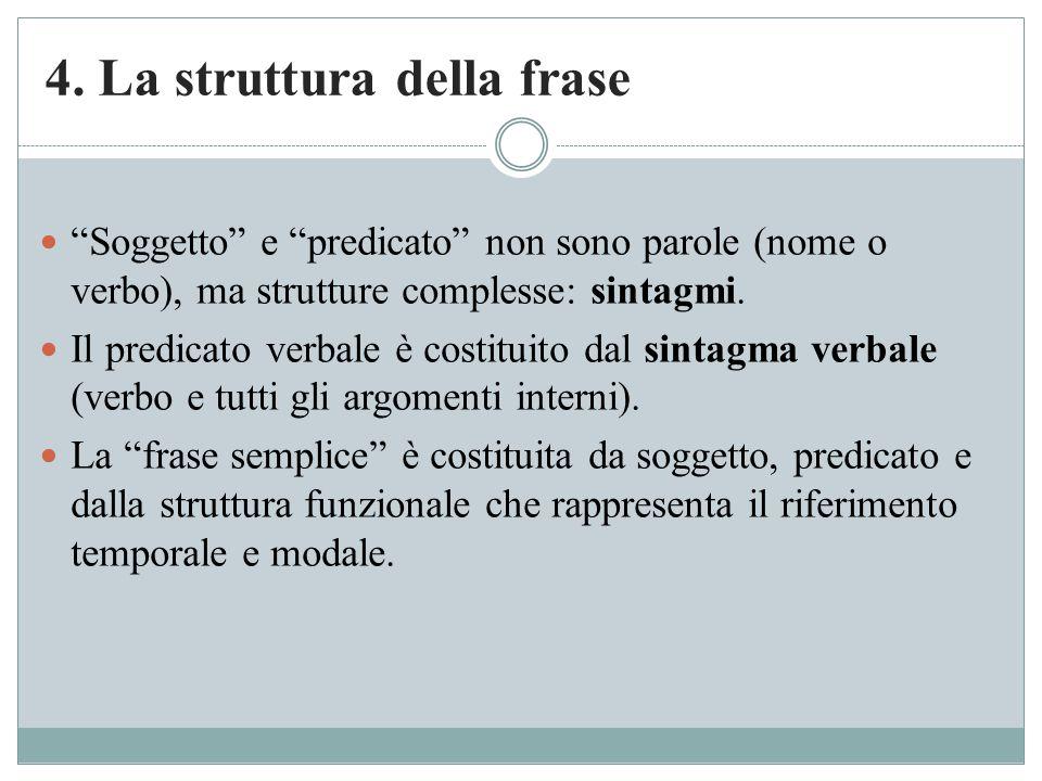 """4. La struttura della frase """"Soggetto"""" e """"predicato"""" non sono parole (nome o verbo), ma strutture complesse: sintagmi. Il predicato verbale è costitui"""