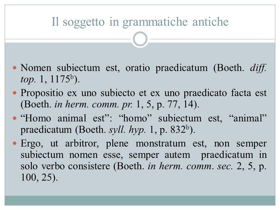 Il soggetto in grammatiche antiche Nomen subiectum est, oratio praedicatum (Boeth. diff. top. 1, 1175 b ). Propositio ex uno subiecto et ex uno praedi