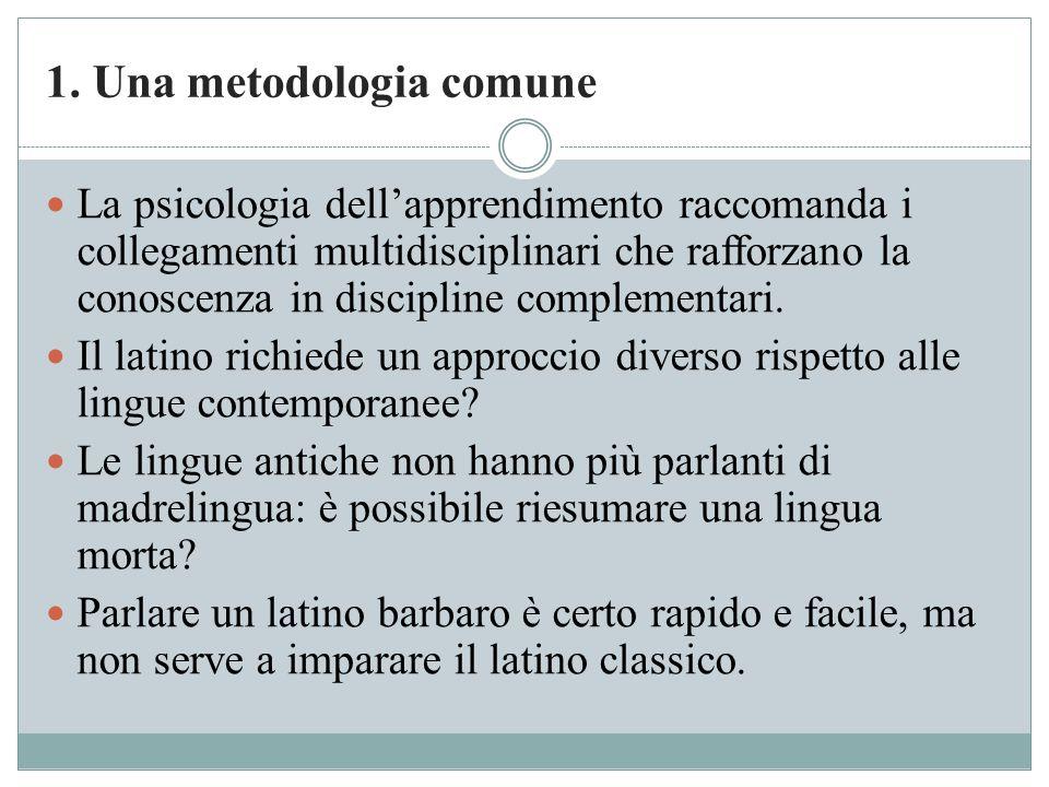 1. Una metodologia comune La psicologia dell'apprendimento raccomanda i collegamenti multidisciplinari che rafforzano la conoscenza in discipline comp