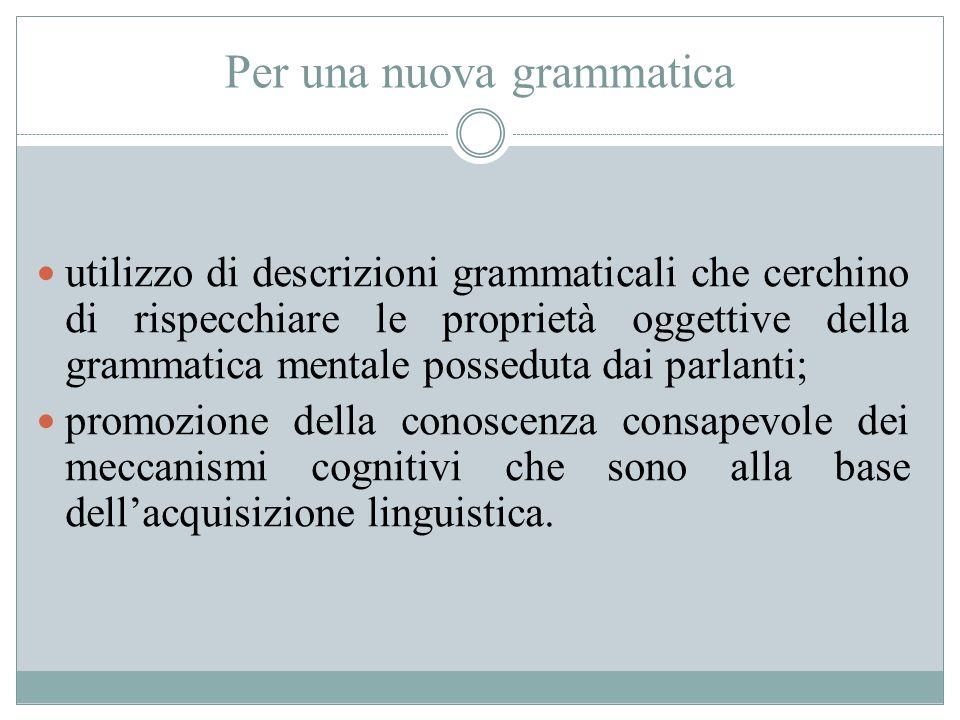 Per una nuova grammatica utilizzo di descrizioni grammaticali che cerchino di rispecchiare le proprietà oggettive della grammatica mentale posseduta d