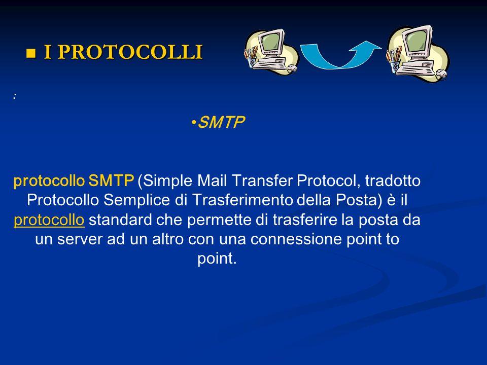 I PROTOCOLLI I PROTOCOLLI : SMTP protocollo SMTP (Simple Mail Transfer Protocol, tradotto Protocollo Semplice di Trasferimento della Posta) è il proto