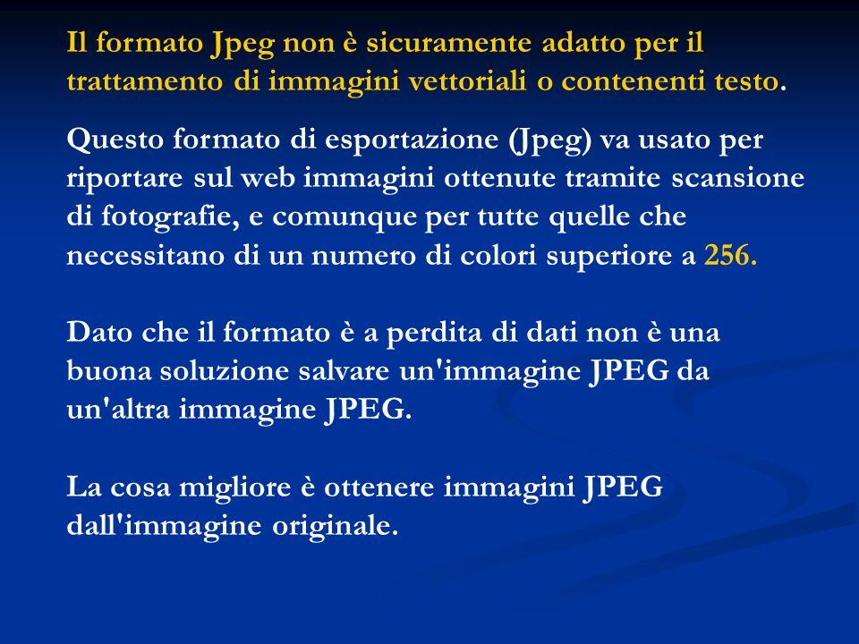 Il formato Jpeg non è sicuramente adatto per il trattamento di immagini vettoriali o contenenti testo. Questo formato di esportazione (Jpeg) va usato