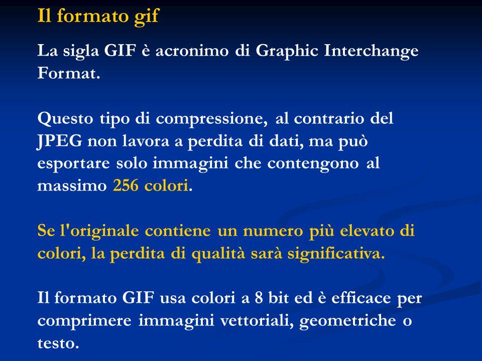 Il formato gif La sigla GIF è acronimo di Graphic Interchange Format. Questo tipo di compressione, al contrario del JPEG non lavora a perdita di dati,