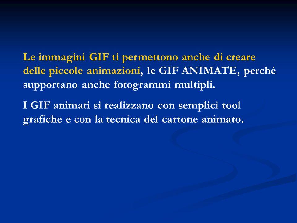 Le immagini GIF ti permettono anche di creare delle piccole animazioni, le GIF ANIMATE, perché supportano anche fotogrammi multipli. I GIF animati si