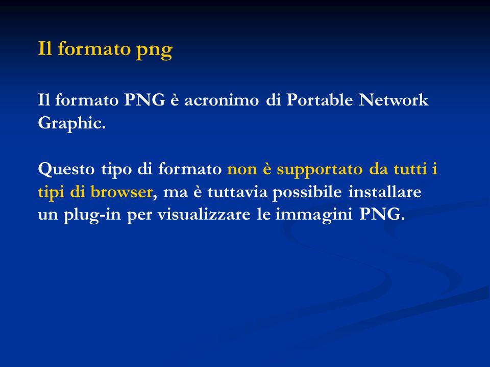 Il formato png Il formato PNG è acronimo di Portable Network Graphic. Questo tipo di formato non è supportato da tutti i tipi di browser, ma è tuttavi