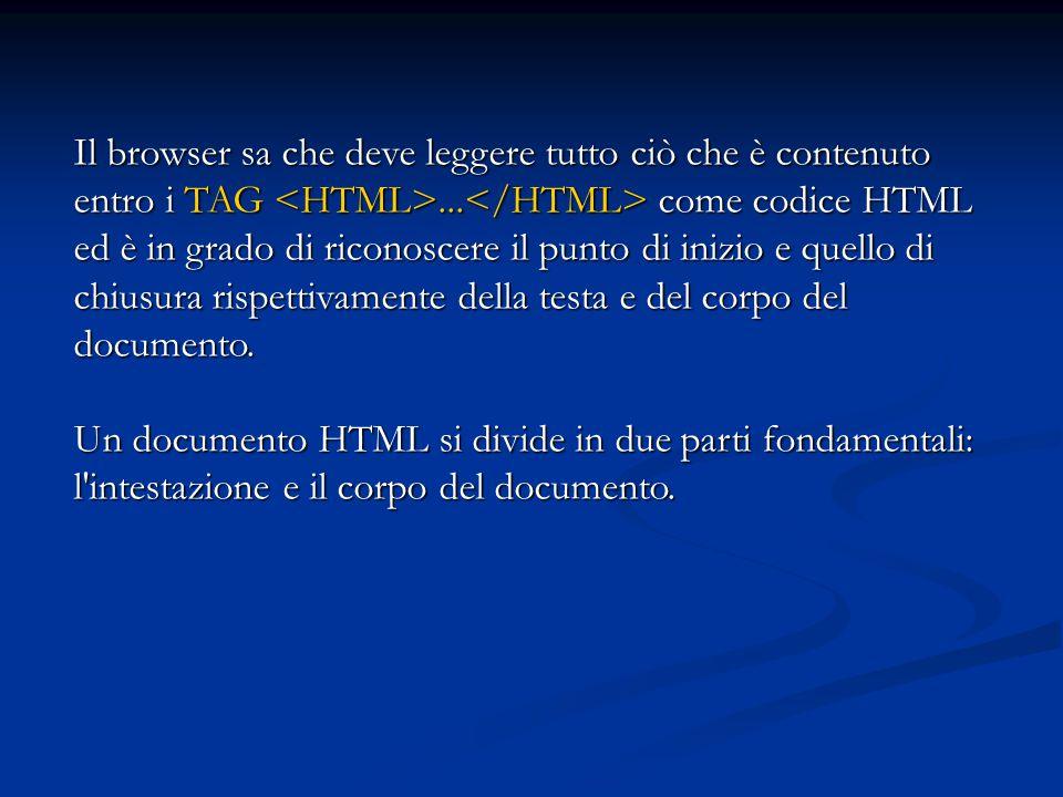 Il browser sa che deve leggere tutto ciò che è contenuto entro i TAG... come codice HTML ed è in grado di riconoscere il punto di inizio e quello di c