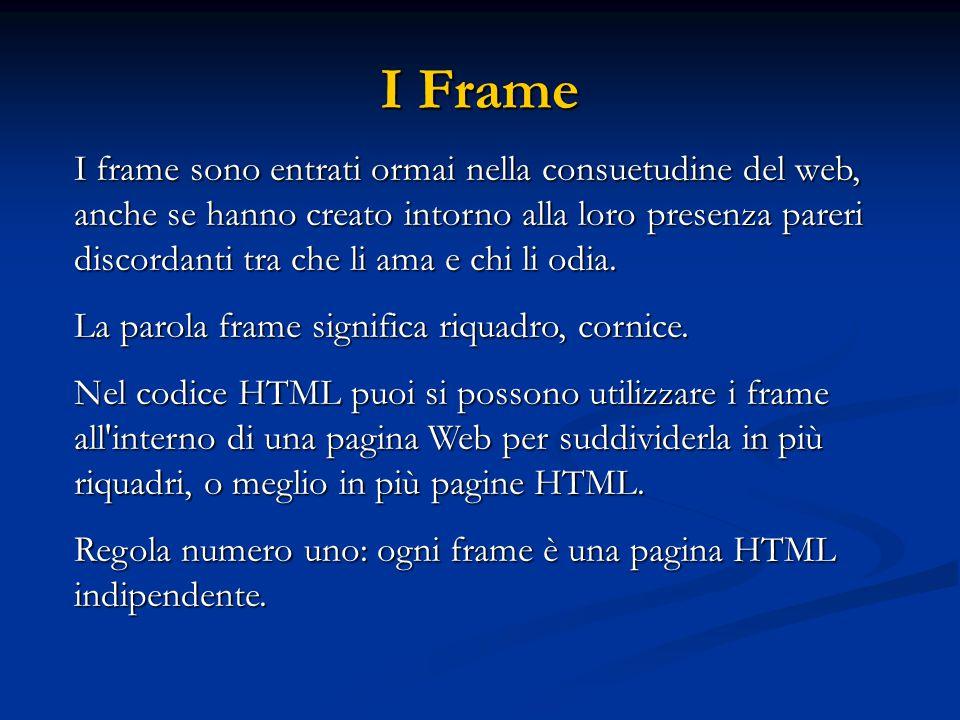 I Frame I frame sono entrati ormai nella consuetudine del web, anche se hanno creato intorno alla loro presenza pareri discordanti tra che li ama e ch