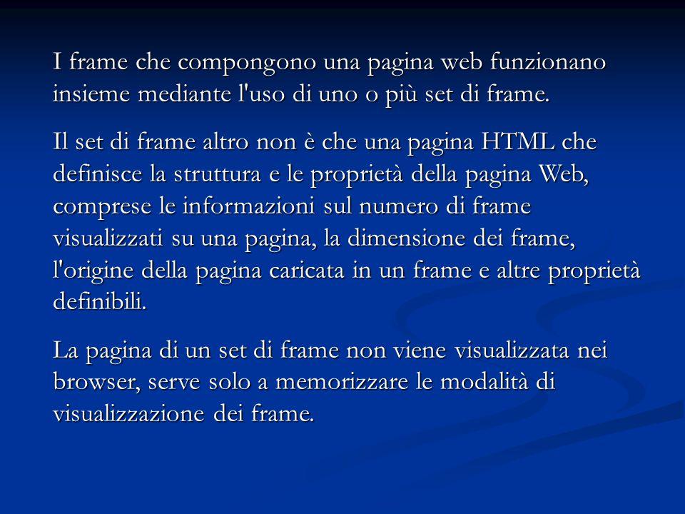 I frame che compongono una pagina web funzionano insieme mediante l'uso di uno o più set di frame. Il set di frame altro non è che una pagina HTML che