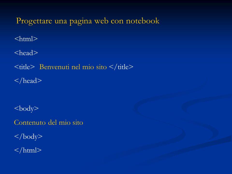 Progettare una pagina web con notebook Benvenuti nel mio sito Contenuto del mio sito