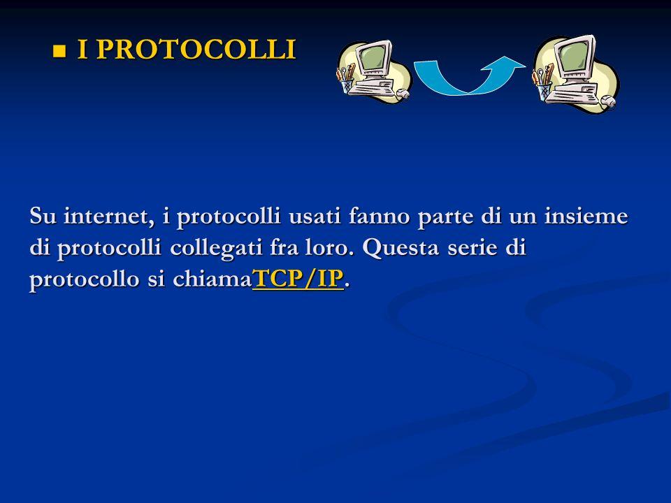 Su internet, i protocolli usati fanno parte di un insieme di protocolli collegati fra loro. Questa serie di protocollo si chiamaTCP/IP. Su internet, i