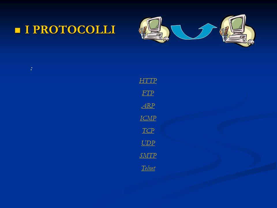 I PROTOCOLLI I PROTOCOLLI : HTTP FTP ARP ICMP TCP UDP SMTP Telnet NNTP