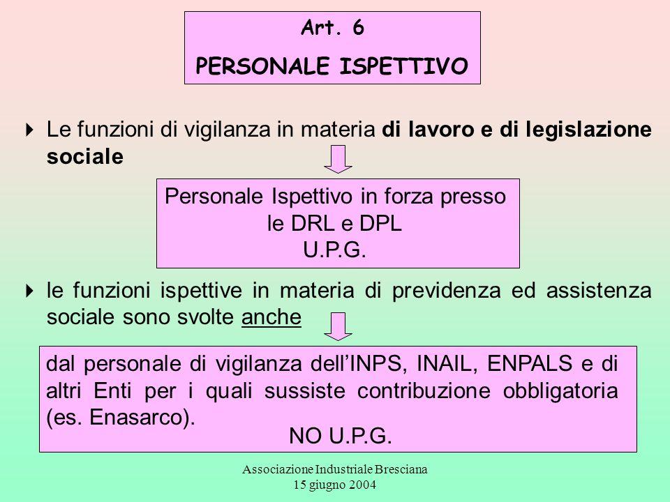 Associazione Industriale Bresciana 15 giugno 2004 Art. 6 PERSONALE ISPETTIVO  Le funzioni di vigilanza in materia di lavoro e di legislazione sociale