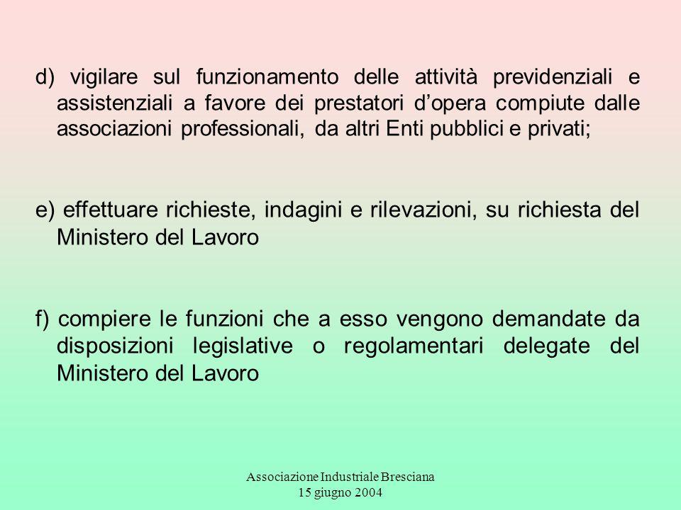 Associazione Industriale Bresciana 15 giugno 2004 d) vigilare sul funzionamento delle attività previdenziali e assistenziali a favore dei prestatori d