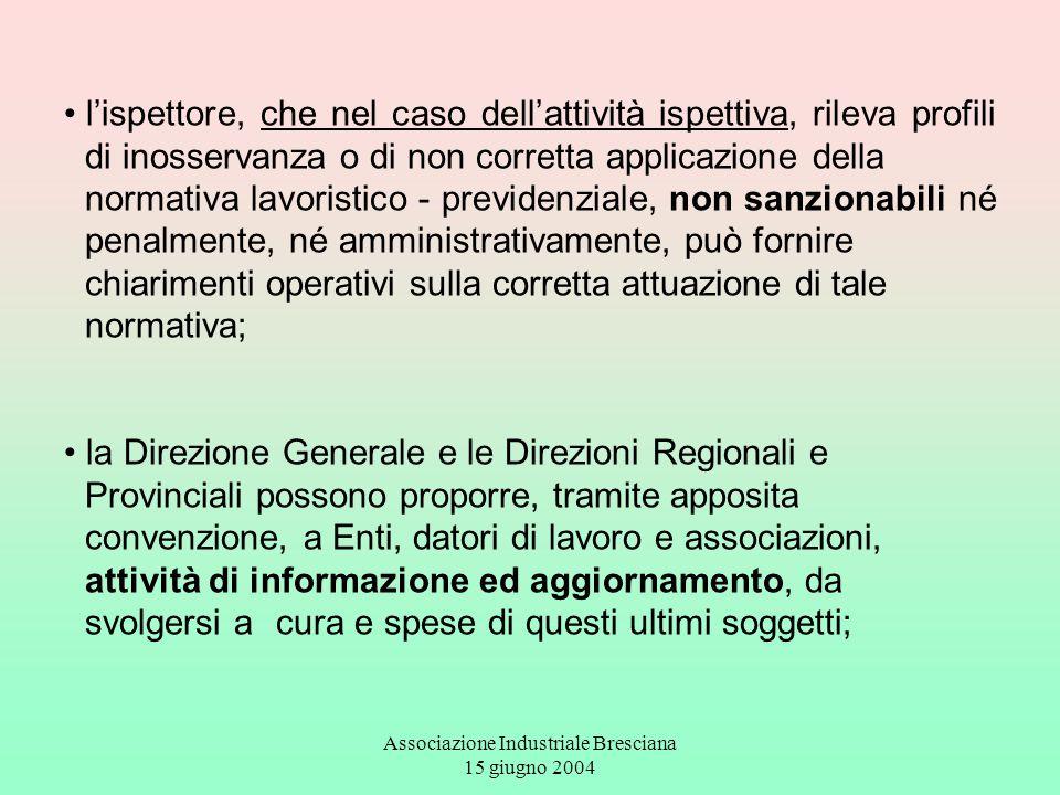 Associazione Industriale Bresciana 15 giugno 2004 l'ispettore, che nel caso dell'attività ispettiva, rileva profili di inosservanza o di non corretta