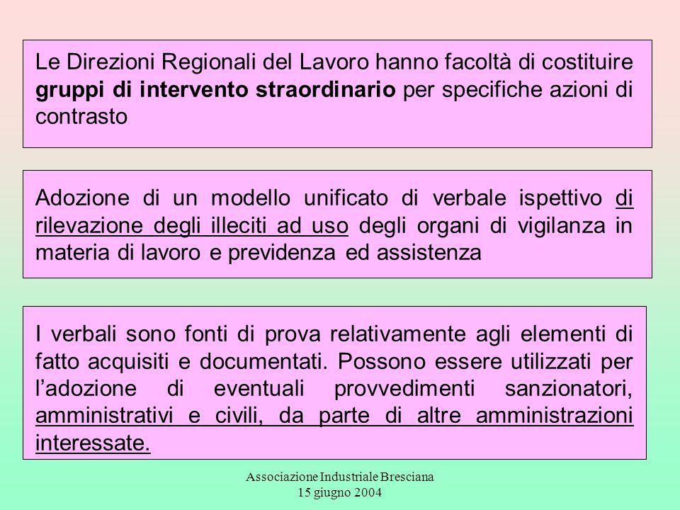Associazione Industriale Bresciana 15 giugno 2004 Le Direzioni Regionali del Lavoro hanno facoltà di costituire gruppi di intervento straordinario per