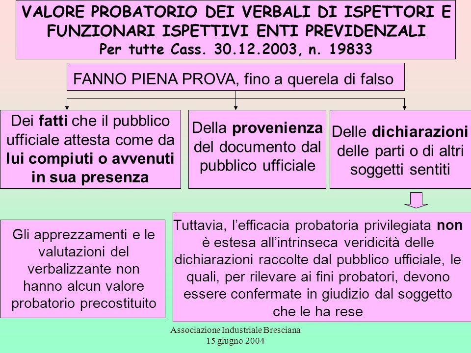 Associazione Industriale Bresciana 15 giugno 2004 VALORE PROBATORIO DEI VERBALI DI ISPETTORI E FUNZIONARI ISPETTIVI ENTI PREVIDENZALI Per tutte Cass.