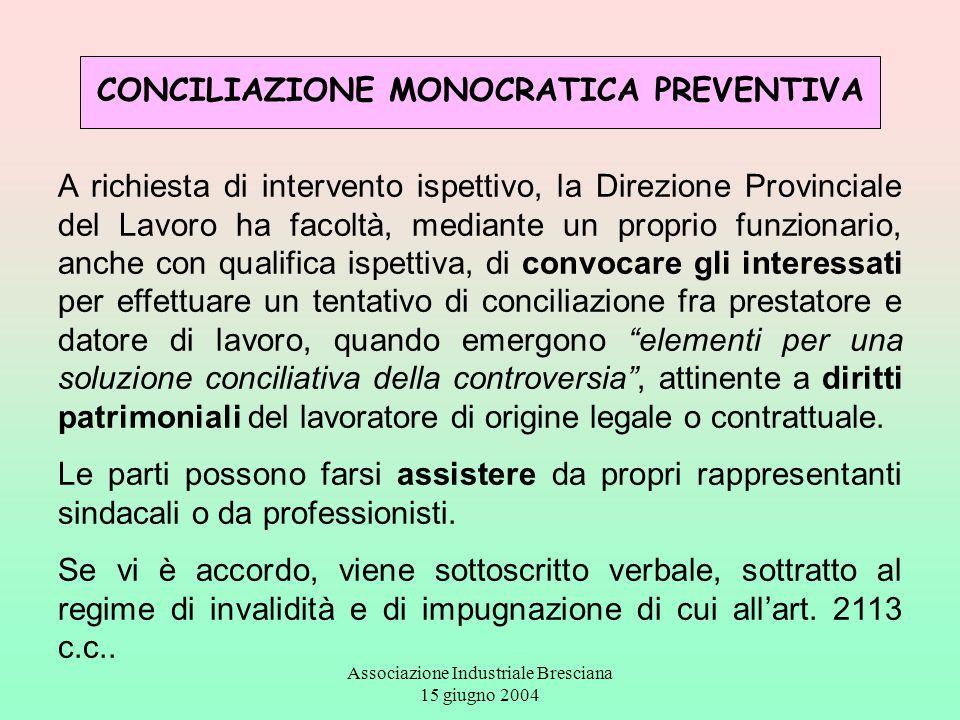 Associazione Industriale Bresciana 15 giugno 2004 CONCILIAZIONE MONOCRATICA PREVENTIVA A richiesta di intervento ispettivo, la Direzione Provinciale d
