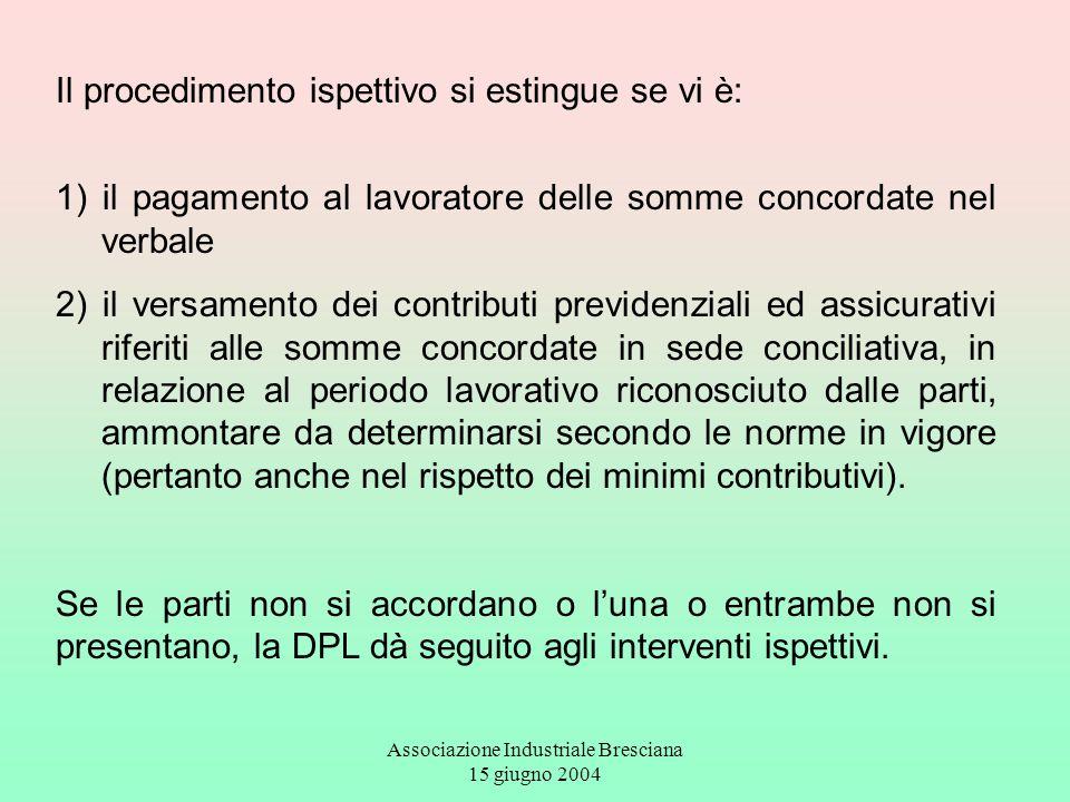 Associazione Industriale Bresciana 15 giugno 2004 Il procedimento ispettivo si estingue se vi è: 1) il pagamento al lavoratore delle somme concordate