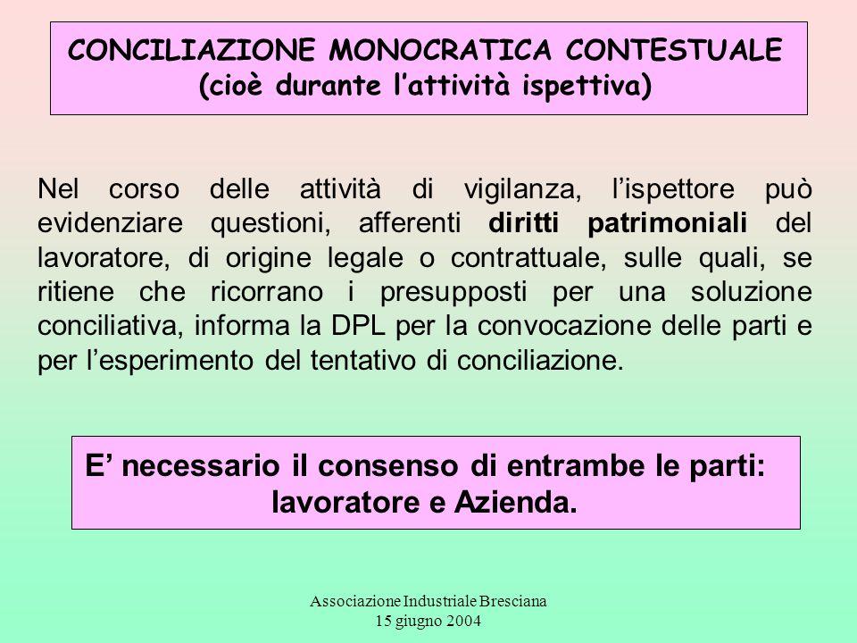 Associazione Industriale Bresciana 15 giugno 2004 CONCILIAZIONE MONOCRATICA CONTESTUALE (cioè durante l'attività ispettiva) Nel corso delle attività d