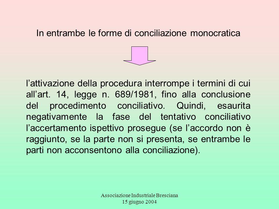 Associazione Industriale Bresciana 15 giugno 2004 In entrambe le forme di conciliazione monocratica l'attivazione della procedura interrompe i termini