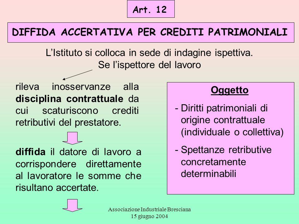 Associazione Industriale Bresciana 15 giugno 2004 Art. 12 DIFFIDA ACCERTATIVA PER CREDITI PATRIMONIALI Oggetto - Diritti patrimoniali di origine contr