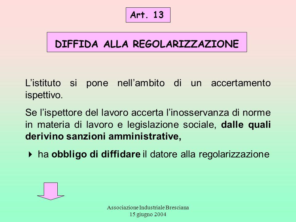 Associazione Industriale Bresciana 15 giugno 2004 Art. 13 DIFFIDA ALLA REGOLARIZZAZIONE L'istituto si pone nell'ambito di un accertamento ispettivo. S