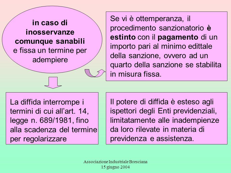 Associazione Industriale Bresciana 15 giugno 2004 La diffida interrompe i termini di cui all'art. 14, legge n. 689/1981, fino alla scadenza del termin