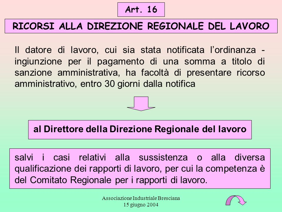 Associazione Industriale Bresciana 15 giugno 2004 Il datore di lavoro, cui sia stata notificata l'ordinanza - ingiunzione per il pagamento di una somm