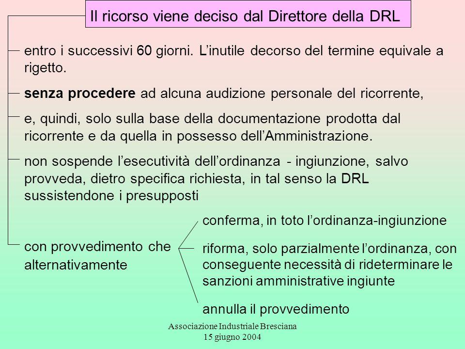Associazione Industriale Bresciana 15 giugno 2004 Il ricorso viene deciso dal Direttore della DRL entro i successivi 60 giorni. L'inutile decorso del