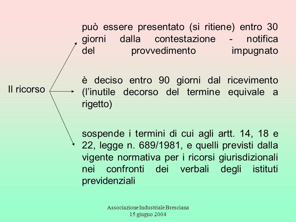 Associazione Industriale Bresciana 15 giugno 2004 Il ricorso può essere presentato (si ritiene) entro 30 giorni dalla contestazione - notifica del pro
