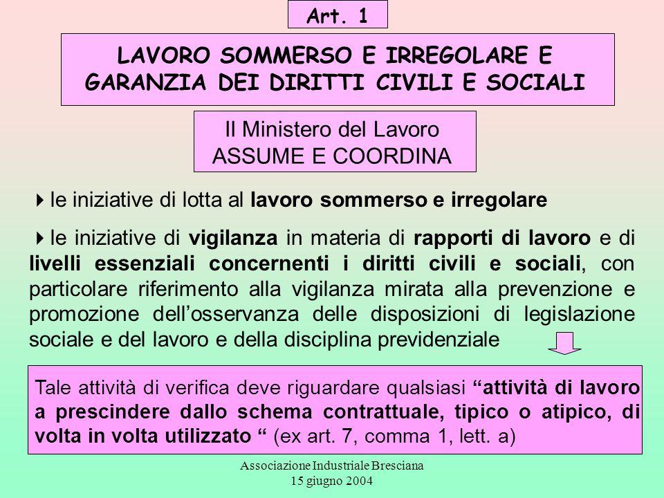 Associazione Industriale Bresciana 15 giugno 2004 anche gli Enti previdenziali possono svolgere attività di prevenzione, promozione, e azioni di chiarimento, anche in sede ispettiva, nell'ambito delle rispettive competenze.