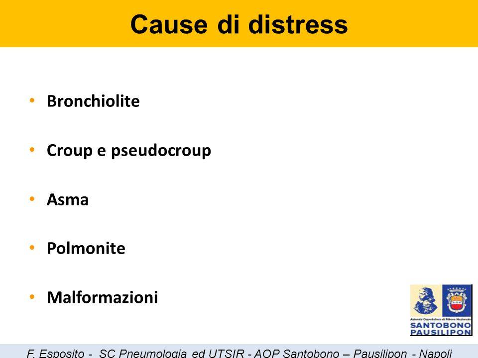 Bronchiolite Croup e pseudocroup Asma Polmonite Malformazioni Cause di distress F. Esposito - SC Pneumologia ed UTSIR - AOP Santobono – Pausilipon - N